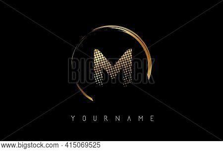 Golden M Letter Logo Design With Golden Dots And Circle Frame On Black Background. Creative Vector I