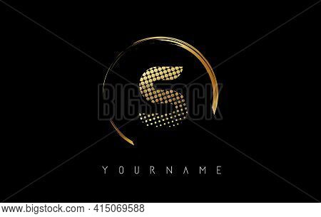 Golden S Letter Logo Design With Golden Dots And Circle Frame On Black Background. Creative Vector I