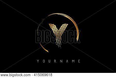 Golden Y Letter Logo Design With Golden Dots And Circle Frame On Black Background. Creative Vector I
