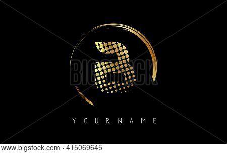 Golden B Letter Logo Design With Golden Dots And Circle Frame On Black Background. Creative Vector I