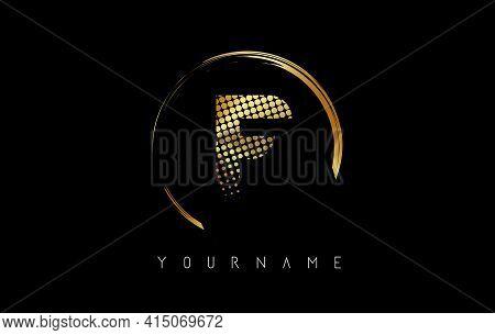 Golden F Letter Logo Design With Golden Dots And Circle Frame On Black Background. Creative Vector I