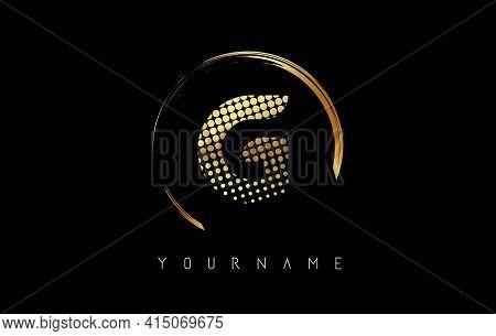 Golden G Letter Logo Design With Golden Dots And Circle Frame On Black Background. Creative Vector I