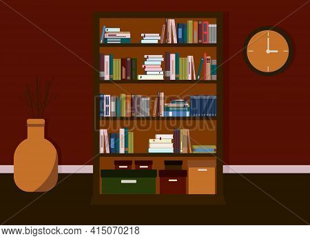 The Interior Of The Room Is In Dark Colors. In The Interior There Is A Library With A Bookcase With