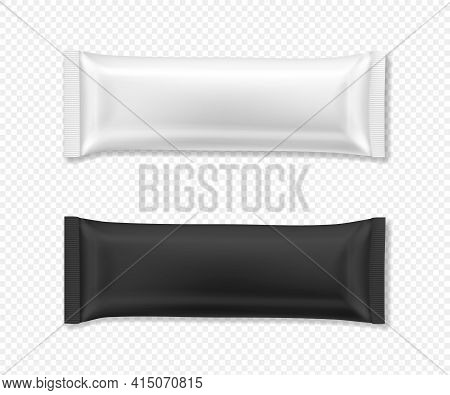 Flow Package Mockup. Vector Realistic Illustration Of Chocolate Bar Wrapper Pack, In White And Black