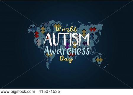 World Autism Awareness Day. Colorful Puzzles Vector Blue Background With Map. Symbol Of Autism. Medi