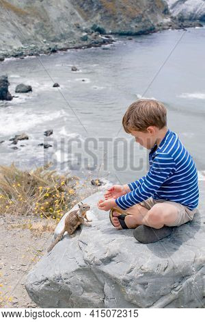 Cute Brave Boy Feeding A Squirrel With Hand Nuts On A Background Of A Beautiful Mountain Landscape