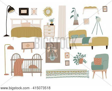 Bedroom Furniture Set. Interior Design Home Elements Collection. Scandinavian Modern Concept Of Bed,
