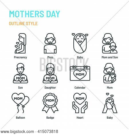 Mothers Day In Outline Icon And Symbol Set