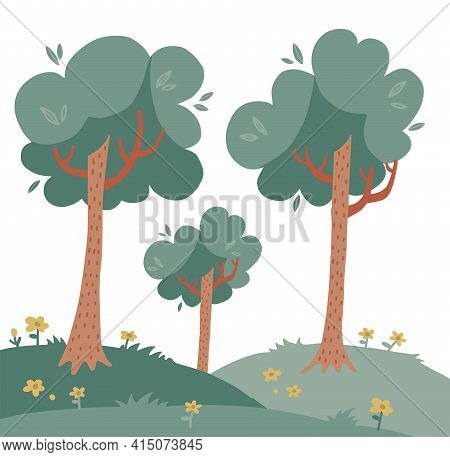 Landscape With Tall Trees On Green Grass Woth Flowers. Deciduous Plants. Summer Background. Vector F