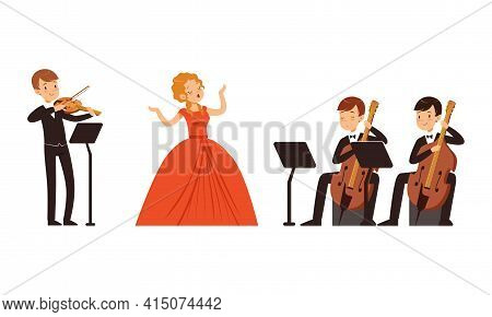 Symphonic Orchestra Playing Classical Music Performing On Stage, Woman Singer And Musicians Playing