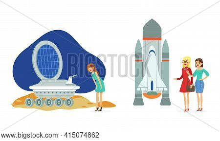 People Visiting Exhibition In Space Museum Set, Visitors Watching Space Rocket, Satellite, Rover, Pe