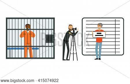 Policeman In Uniform Working At Police Station Set, Police Officer Photographing Arrested Criminal,