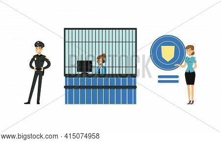 Policeman In Uniform Working At Police Station Set, Police Officer, Receptionist Characters Cartoon