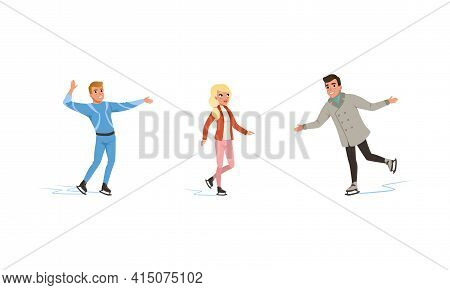 Winter Sport Activity Set, Figure Skating People Training On Ice, Professional Athletes And Amateurs