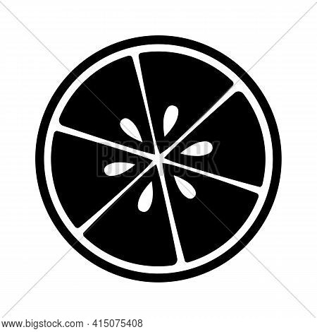 Half Sliced Citrus Fruit Icon. Lime Lemon Grapefruit Orange Black And White Vector Illustration.