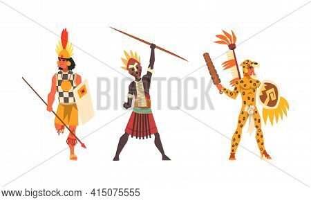 Set Of Aboriginal Or Indigenous Warriors, Men Of Africa Dressed In Ethnic Clothes With Weapon, Repre