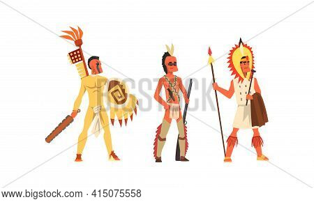 Set Of Aboriginal Or Indigenous Warriors, Male American Indians Dressed In Ethnic Clothes With Weapo