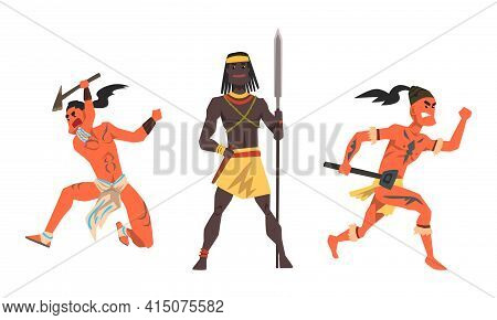 Set Of Aboriginal Or Indigenous Warriors, African And Indian Men Dressed In Ethnic Clothes With Weap
