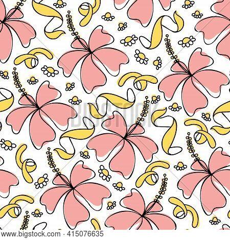 Hibiscus Herbal Tea Blend Pattern. Rose, Orange Peel And Chamomile Background.