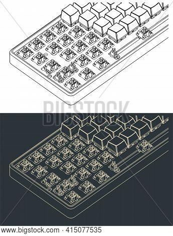 Mechanical Keyboard Isometric Close-up Drawings