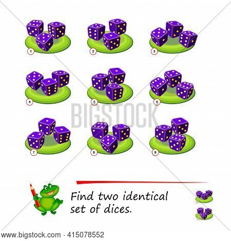 Logic Puzzle Game For Children And Adults. Find Two Identical Sets Of Dices. Memory Training Exercis