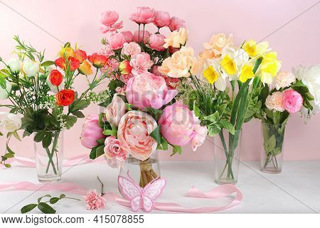 Holiday Concept With Flowers, Spring Or Summer Composition, Still Life, Flowers In A Vase, Banner. M
