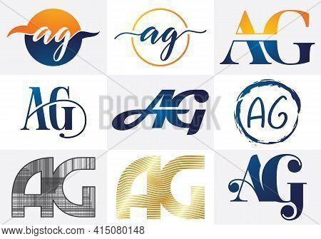 A G Letter Logo Design. Creative A G Letters Icon Set