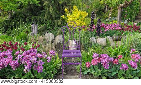 A place for relaxation among flowers