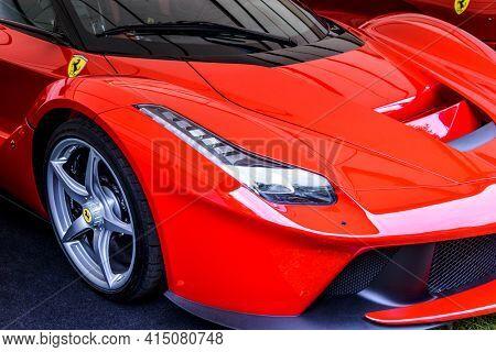 LONDON, UK - CIRCA JUNE 2014: Ferrari La Ferrari detail shot. It is a limited production hybrid supercar produced from 2013 to 2016.