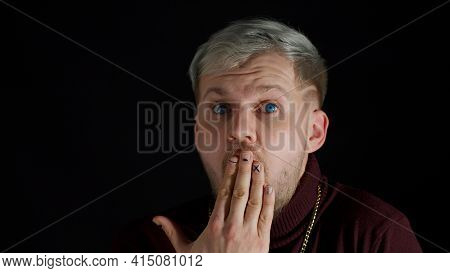 Portrait Of Exited Shocked Shy Young Man In Trendy Stylish Clothes Looking Around Smile Cover Mouth
