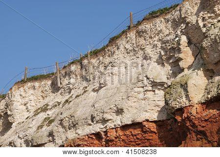 Eroding Cliffs at Hunstanton, Norfolk, UK.