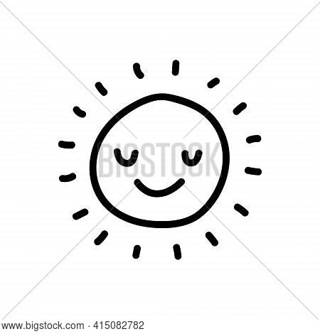 Cute Cartoon Hand Drawn Sun Drawing. Sweet Vector Black And White Sun Drawing. Isolated Monochrome D