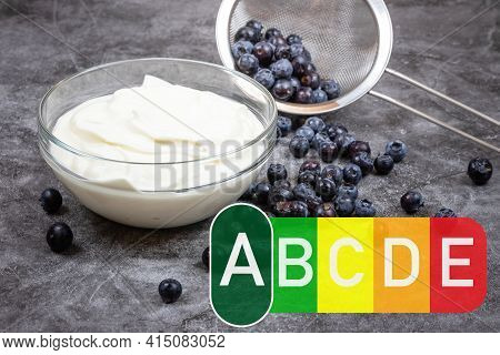 Nutri Score With Berry Background. Nutri Score Food Labeling, Etiquetage Nutritionnel Nutri-score