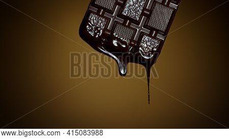 Melted Premium Chocolate Flowing. Sweet Dessert. Chocolate Bar With Melted Chocolate Syrup Dripping