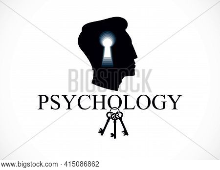 Psychology And Mental Health Concept, Created With Man Head Profile And Keyhole, Psychoanalysis As A