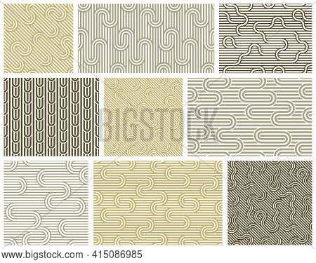 Seamless Patterns With Twisted Lines, Vector Linear Tiling Backgrounds Set, Stripy Weaving, Optical