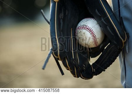 Close Up Baseball Held Glove. High Quality And Resolution Beautiful Photo Concept