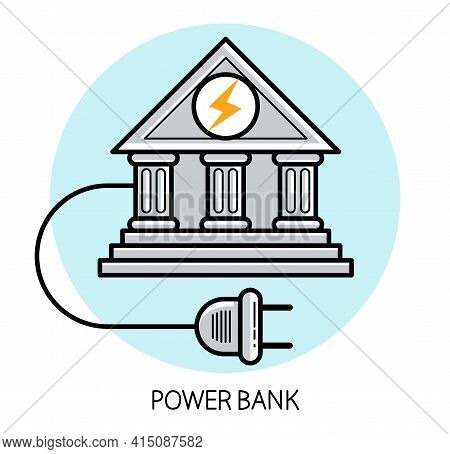 Power Bank Humorous Funny Icon Made With Real Bank Classic Style Facade And Electric Plug Vector Fla