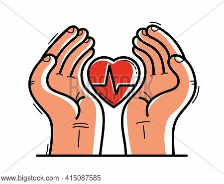Two Hands With Heart And Cardiogram Protecting And Showing Care Vector Flat Style Illustration Isola