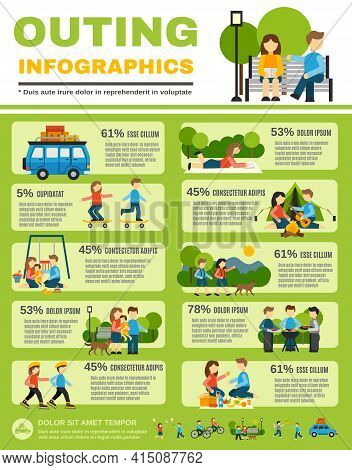 Outing Infographics Set With Families With Kids Outdoors Vector Illustration