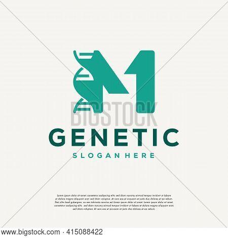 Dna Helix Letter M Logo Designs, Genetics Vector Design, Chromosome Initial Logo Template