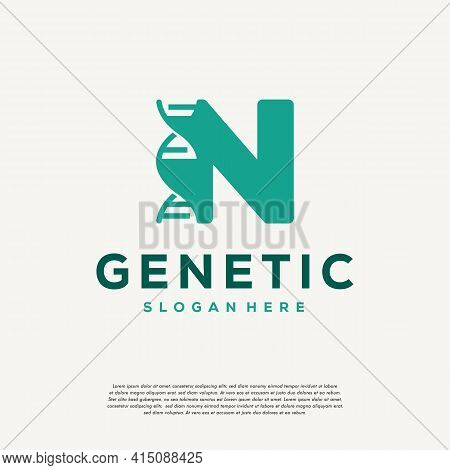 Dna Helix Letter N Logo Designs, Genetics Vector Design, Chromosome Initial Logo Template
