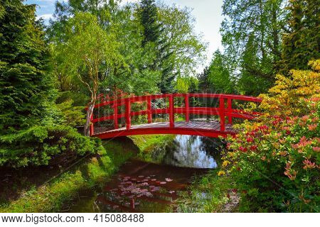 Red bridge and spring colors in garden