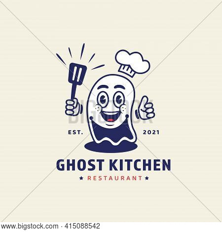 Ghost Chef Holding Spatula Mascot Character Illustration For Ghost Kitchen Online Restaurant Concept