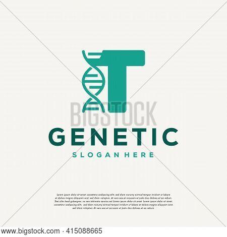 Dna Helix Letter T Logo Designs, Genetics Vector Design, Chromosome Initial Logo Template