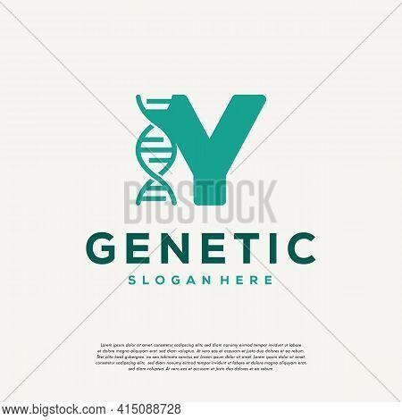 Dna Helix Letter Y Logo Designs, Genetics Vector Design, Chromosome Initial Logo Template