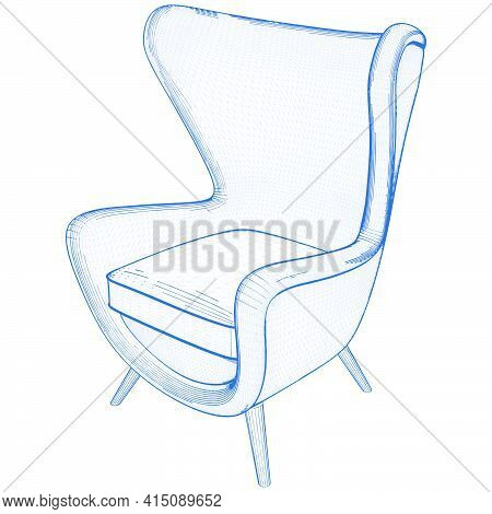 Modern Easy Armchair Vector. Illustration Isolated On White Background. A Vector Illustration Of Arm