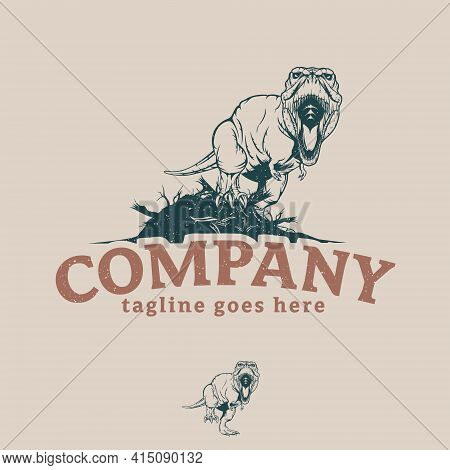 T-rex Vintage Illustratiom Symbol Vector For Commercial Use Such As T Shirt Print, Merchandise, Post