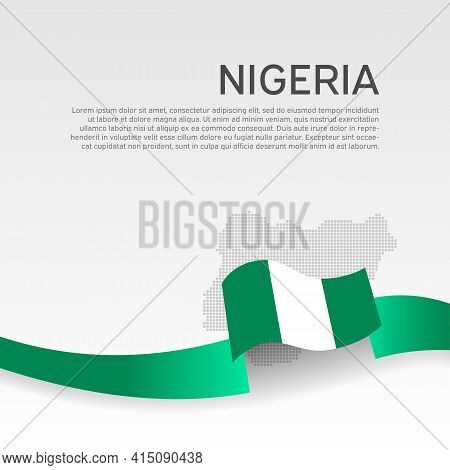Nigeria Flag, Mosaic Map On White Background. Vector Banner Design, Nigeria National Poster. Cover F