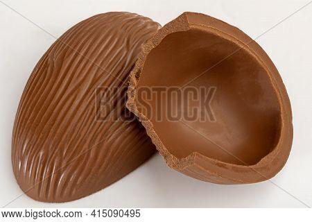Chocolate Egg Brazilian Easter, Isolated On White Background